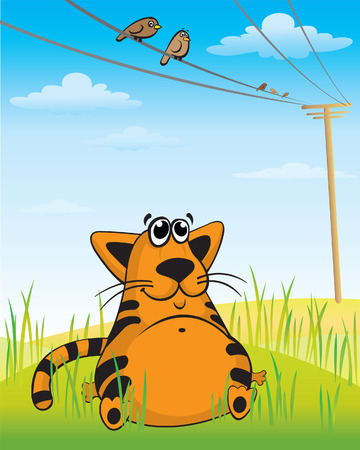 Orange cartoon cat looking to a birds sitting on an electrical wires Stock Vector - 8972790