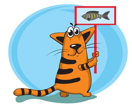 fanny: Cartoon fanny cat with plate