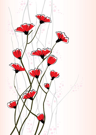 japanese style: Group of red flowers on a patternet Illustration