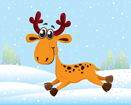 Funny cartoon reindeer running on snow Vector