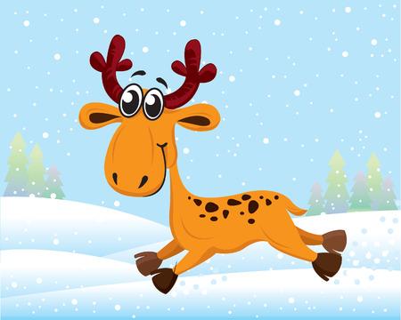 Funny cartoon reindeer running on snow Illustration