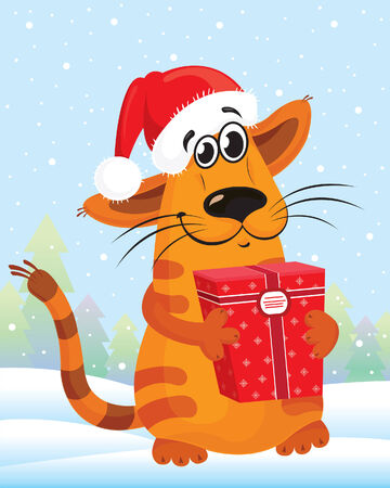 Happy cat wiht a hat and a gift box Vector