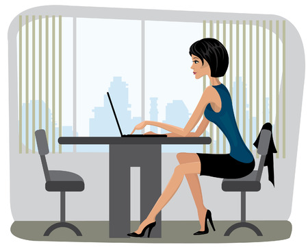 Beautiful yang woman sitting in the office and and typing on a laptop Vector