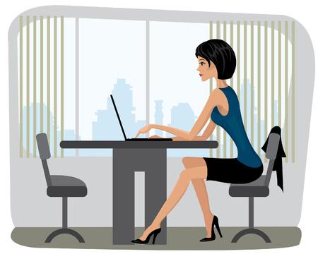 Mooie yang vrouwenzitting in het bureau en en typend op laptop Vector Illustratie