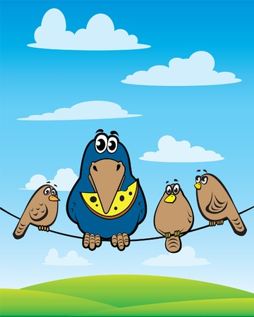 dark cloud: Cartoon crow with cheese sitting on the wire with a sparrows Illustration
