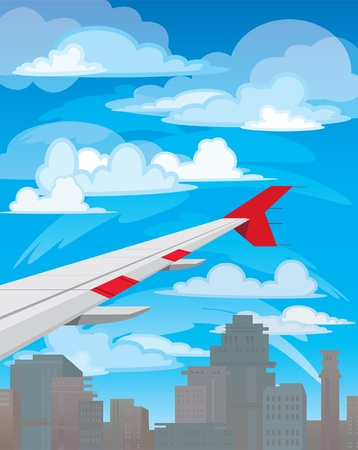 Wing of flying airplane on white clouds and blue sky Vector
