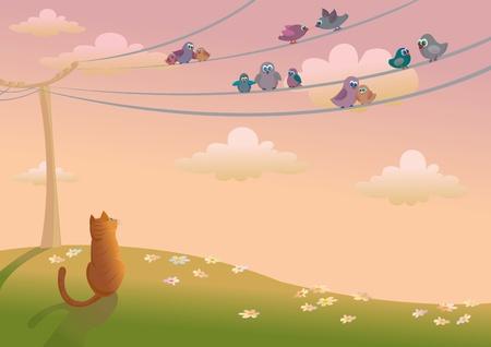 Gato naranja buscando un aves sentado sobre un cables el�ctricos Vectores