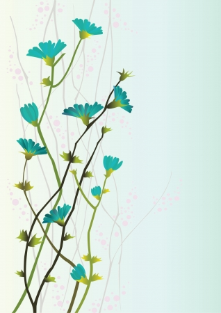 japanese style: Branches with flowers on a blue background