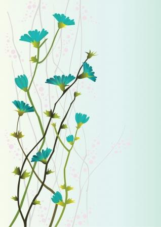 Takken met bloemen op een blauwe achtergrond