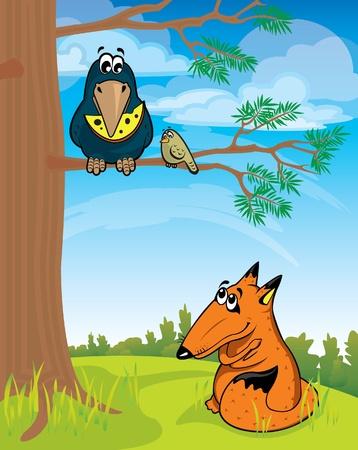 desconfianza: Fox Cartoon mirando el cuervo con queso Vectores