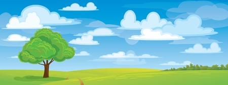 panoramic sky: Green tree in medow on blue sky