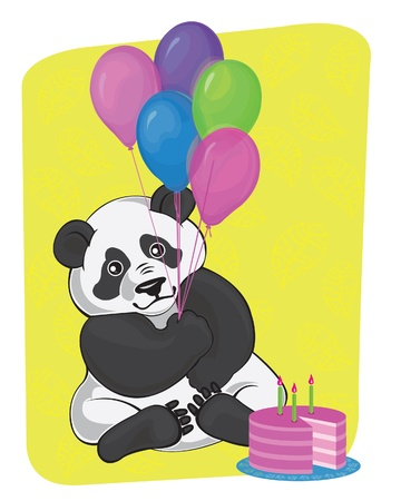 Cartoon fanny panda with balloons and cake Stock Vector - 9660414