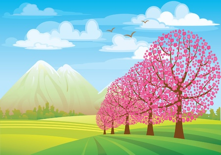 Pink flowering tree on a green meadow, mounteins and blue sky Vector