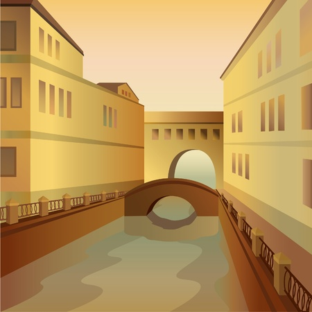City with a bridge and a river Vector