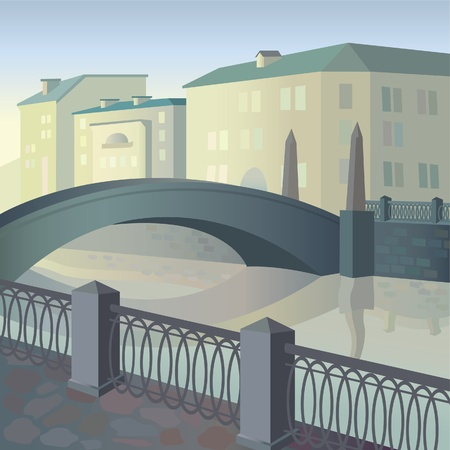 Morning city with the bridge and the river Stock Vector - 9660389