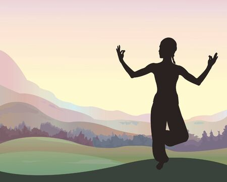 Young beautiful woman meditating on nature background Vector