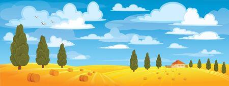 Hooiberg in gele weide op blauwe hemel en groene bomen