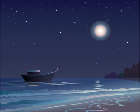 sea stars: Night with moonlit and the stars, the sea and the boat