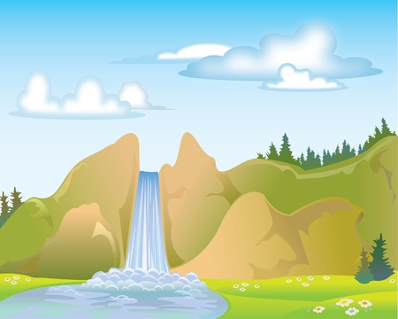 Woterfall on a blue sky and clouds Vector