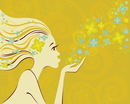 Silhouette woman and flowers on yelloy background Vector