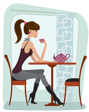 Pretty woman drinking tea in cafe Stock Vector - 9660376