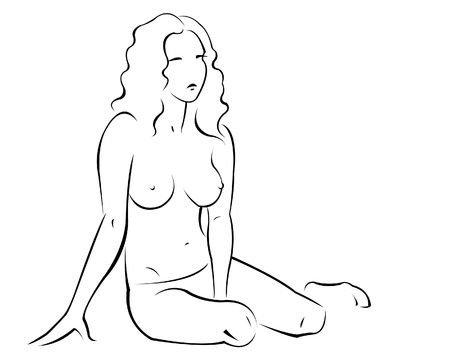 single woman: Sketch of a young woman  Illustration