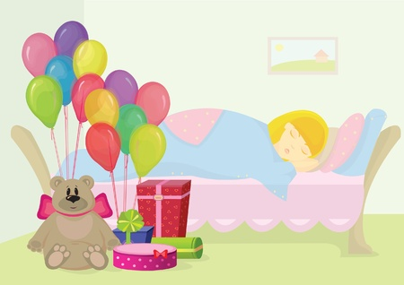 Gifts beside the sleeping girl Vector