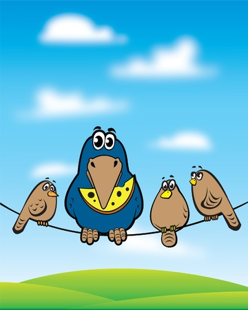 Cartoon crow with cheese sitting on the wire with a sparrows Vector