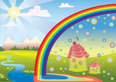 Fairy nature with a rainbow and meadows Stock Vector - 9721810