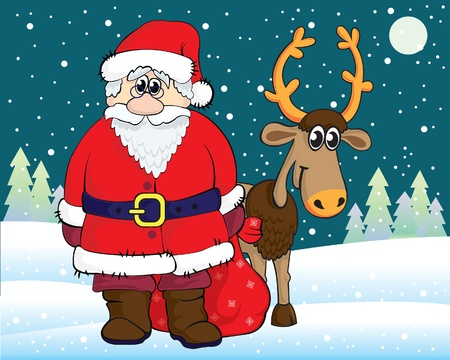 Funny cartoon Santa Claus and reindeer on snow background Vector