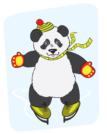 big hat: Cartoon young panda with a hat and a mittens and ice skating