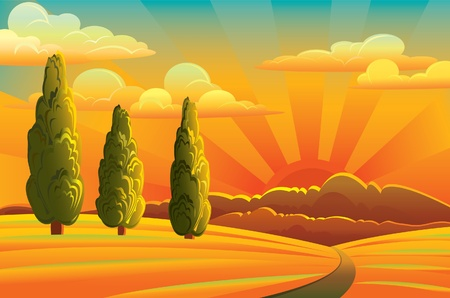 Group of green trees  and gold meadow on a sunset background