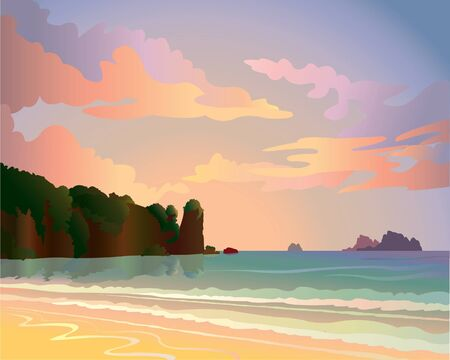 Sunset wiht sea and islands Vector