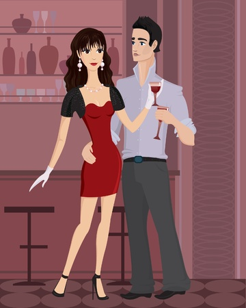 Beautiful yang woman and handsome man  with a glass of wine standing at the bar Vector