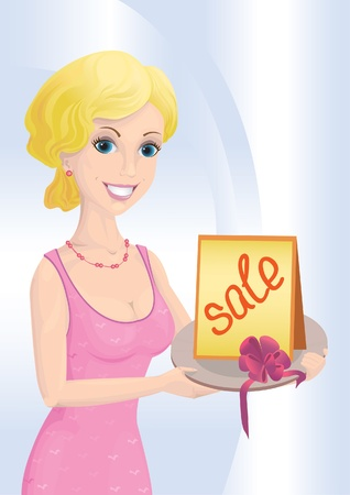 Blond woman in a pink dress with a card Vector