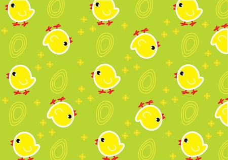 nestling: Green wallpaper with yellow chickens and eggs