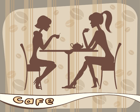 Silhouettes of women sitting in cafe Stock Vector - 9915468