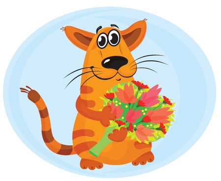 Funny orange cat with tulip bouquet on a blue background  Vector