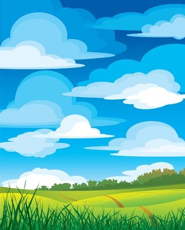 paisaje rural: Grupo de nubes en el cielo azul y verde Prado con carretera  Vectores