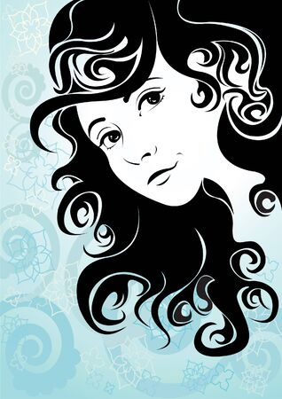 blue hair: Beautiful girl with curly hair on a blue background Illustration