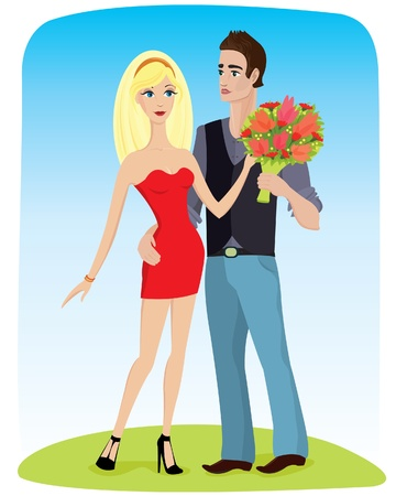 sophistication: Young man gives flowers blonde woman in a red dress