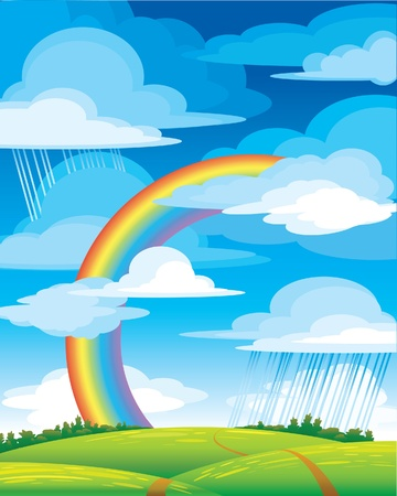 rainbow sky: Landscape with bright rainbow, green meadow and blue cloudy sky Illustration
