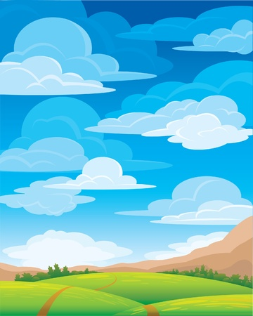 Group clouds on blue sky and green meadow with road Vector