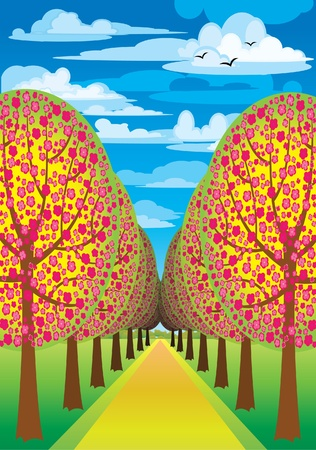 lanes: Alley with flowering pink trees and road on a blue sky Illustration