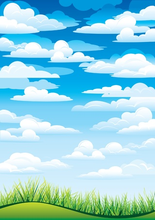 horizon over land: Green grass in a blue sky and clouds Illustration