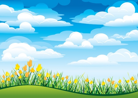 yellow sky: Yellow flowers and green grass on a blue sky and clouds