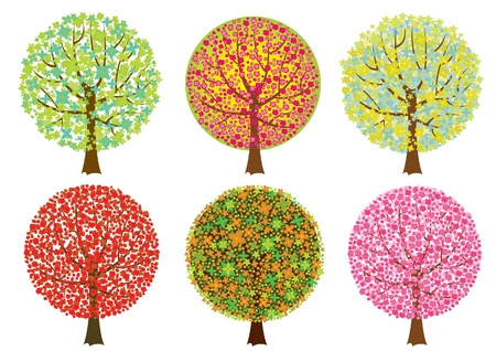 virágzó: Group colored trees on white background