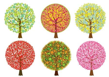 Grupo de colores �rboles sobre fondo blanco