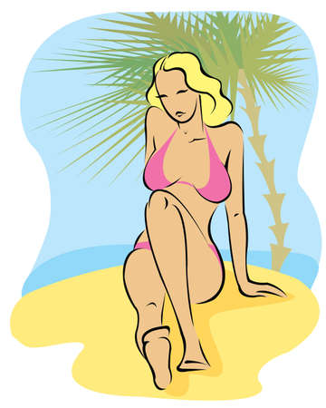 Young woman sitting in pink bikini near palm on a beach Vector