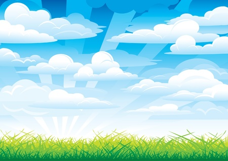 Green grass in a blue sky and clouds Stock Vector - 9915488
